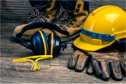 Construction safety hat, boots, ear defenders and eye protectors