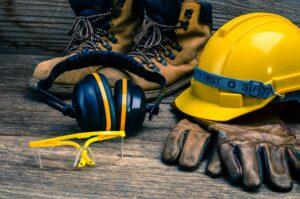 hard hat, boots, gloves, ear defenders