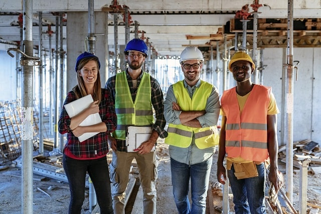 four construction workers
